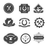 Blacksmith labels collection icons set Stock Images
