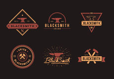 Blacksmith logo set Royalty Free Stock Photo