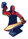Blacksmith mascot. Vector of Blacksmith mascot forge the sword Royalty Free Stock Photo