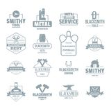 Blacksmith metal logo icons set, simple style. Blacksmith metal logo icons set. Simple illustration of 16 blacksmith metal logo vector icons for web Royalty Free Stock Image