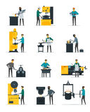 Blacksmith Metalworking Process Flat Icons Collection. Blacksmith at work flat icons set with metal melting casting forging and hammering on anvil  vector Stock Photo
