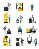Blacksmith Metalworking Process Flat Icons Collection Stock Photo