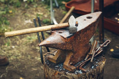 Blacksmith old Tools on anvil. Blacksmith vintage old Tools on anvil royalty free stock photography