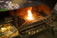 Blacksmith oven fire Stock Photos
