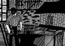 Blacksmith Podczas pracy - atramentu rysunek ilustracja wektor