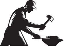 Blacksmith pracownika skucia żelaza Czarny I Biały Woodcut ilustracji