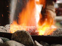 Blacksmith's fire close up. Sparks flying from blacksmith ifre close up royalty free stock photos