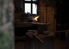 Blacksmith`s worskhop stock photo