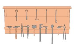 Blacksmith shelf with tools Royalty Free Stock Images