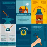 Blacksmith shop flat icons set Stock Images