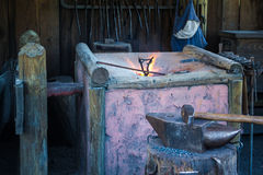 Blacksmith shop and tools. Some blacksmith articles laid out and ready to use Stock Photography