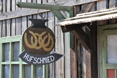 Blacksmith Sign Hanging Stock Photo