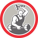 Blacksmith Striking at Barbell with Sledgehammer Retro Stock Photography