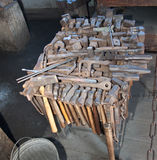 Blacksmith Tools. Hammers and other tools used in a blacksmith shop at Mystic Seaport, CT Stock Photo
