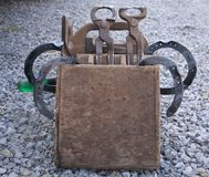 Blacksmith Tools. Portable tool box containing horse shoes and all the tools need for shoeing a horse royalty free stock photos