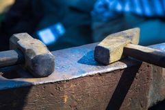 Blacksmith tools and fixtures for hand forged metal. Close-up Stock Photo