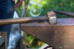 Blacksmith tools and fixtures for hand forged metal. Close-up Royalty Free Stock Photos