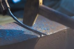 Blacksmith tools and fixtures for hand forged metal. Close-up Royalty Free Stock Image