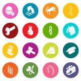Blacksmith tools icons set colorful circles vector. Blacksmith tools icons set vector colorful circles isolated on white background Royalty Free Stock Photography