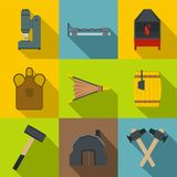 Blacksmith tools icons set, flat style. Blacksmith tools icons set. Flat set of 9 blacksmith tools vector icons for web with long shadow Royalty Free Stock Photos