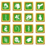 Blacksmith tools icons set green square vector. Blacksmith tools icons set vector green square isolated on white background Royalty Free Stock Image