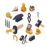 Blacksmith tools icons set, isometric style. Blacksmith tools icons set. Isometric illustration of 16 Blacksmith tools icons set vector icons for web Royalty Free Stock Image