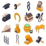 Blacksmith tools icons set, isometric style. Blacksmith tools icons set. Isometric illustration of 16 Blacksmith tools icons set vector icons for web Royalty Free Stock Images