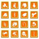 Blacksmith tools icons set orange square vector. Blacksmith tools icons set vector orange square isolated on white background Stock Image