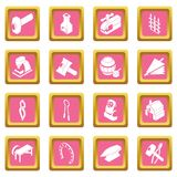 Blacksmith tools icons set pink square vector. Blacksmith tools icons set vector pink square isolated on white background Royalty Free Stock Images