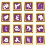 Blacksmith tools icons set purple square vector. Blacksmith tools icons set vector purple square isolated on white background Stock Photo