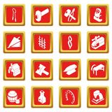 Blacksmith tools icons set red square vector. Blacksmith tools icons set vector red square isolated on white background Royalty Free Stock Images