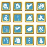 Blacksmith tools icons set sapphirine square vector. Blacksmith tools icons set vector sapphirine square isolated on white background Stock Image