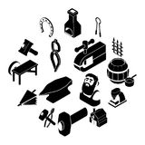 Blacksmith tools icons set, simple style. Blacksmith tools icons set. Simple illustration of 16 blacksmith tools icons set vector icons for web Royalty Free Stock Images