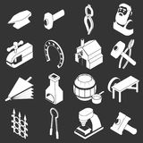 Blacksmith tools icons set grey vector. Blacksmith tools icons set vector white isolated on grey background Stock Image