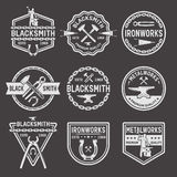 Blacksmith White Emblems On Black Background Stock Image