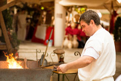 Blacksmith at work for a recreational history in Merida Spain Stock Image