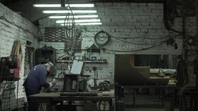 Blacksmith Is Working On His New Product In His Workshop