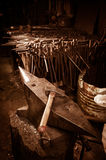 Blacksmith workshop-Anvil and Hammer Stock Photo