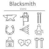 Blacksmithing hantverk Hovslagaren bearbetar symboler royaltyfri illustrationer