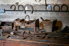 Blacksmiths tool bench Stock Photos
