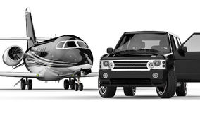 BlackSUV limousine with private jet Royalty Free Stock Image