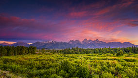 Blacktail Ponds Overlook. Colorful summer sunrise at Blacktail Ponds Overlook in Grand Teton National Park, WY Royalty Free Stock Images