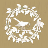 Blackthorn berries branches, leaves and robin bird frame for laser or plotter cutting. Vector illustrations vintage. Vector Blackthorn berries branches, leaves Royalty Free Stock Photo