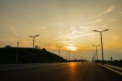Blacktop della campagna nel tramonto di estate Fotografia Stock Libera da Diritti