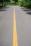 Blacktop z dwoistym żółtych linii divider pod światłem słonecznym fotografia stock