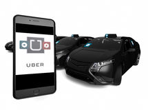 Blackuber application on phones Stock Photos