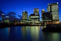 Blackwall Basin and Canary Wharf, London. Royalty Free Stock Photo