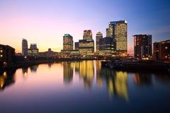 Blackwall Basin and Canary Wharf, London. Royalty Free Stock Photography