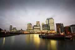 Blackwall Basin and Canary Wharf, London. Stock Photo