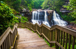 Blackwater Falls and a trail at Blackwater Falls State Park Stock Photos